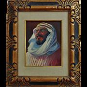 Vintage Oil Painting Prince King Faisal Saudi Arabia Arab Signed & Framed Portrait