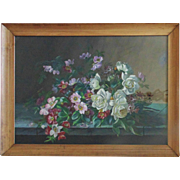 Gouache Still Life Painting Roses Flowers Floral w/ Frame Shabby Cottage Chic