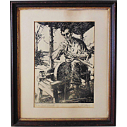 Rare Abraham Lincoln Woodblock Wood Block Print Signed by Listed Artist Dwight Case Sturges