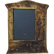 Vintage Gilt Cast Metal Figural Picture Frame Victorian Lady Rams Birds