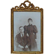 Antique Victorian Miniature Picture Frame Gilt Metal Ribbon Topper & Black & White Photo Photograph