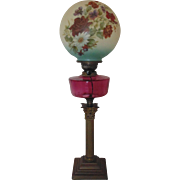 Antique Oil Kerosene Banquet Piano Lamp (Electrified) w/ Ball Globe Shade Cranberry Glass & Corinthian Column