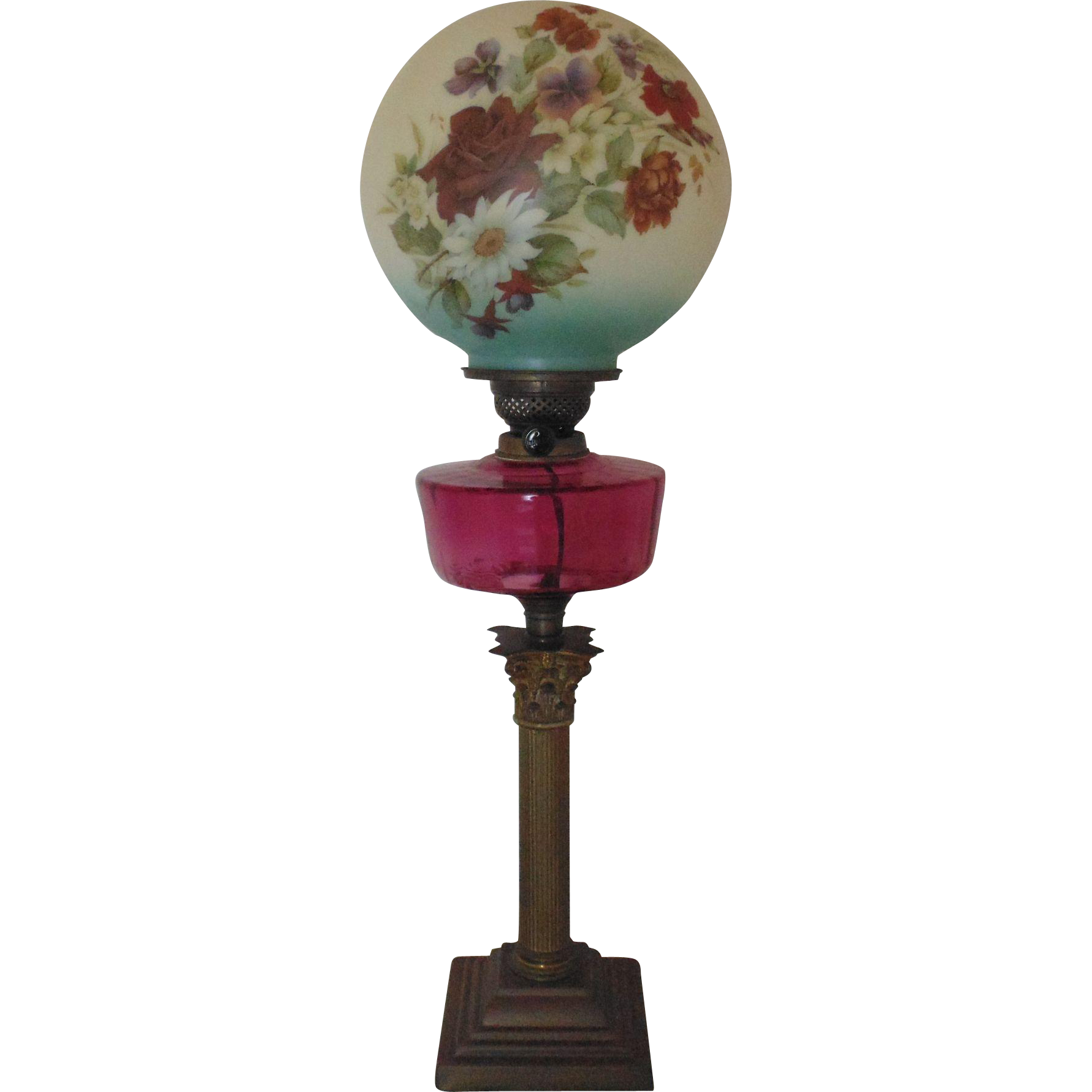 Antique Oil Kerosene Banquet Piano L& (Electrified) w/ Ball Globe  Coyote Moon Antiques | Ruby Lane  sc 1 st  Ruby Lane & Antique Oil Kerosene Banquet Piano Lamp (Electrified) w/ Ball Globe ...