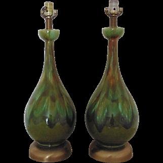 Pair Table Lamps Mid Century Modern Green Drip Glaze Retro Eames Era
