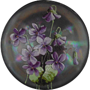 Antique Victorian Opalescent Glass Dresser Box for Powder Jewelry Trinket Iridescent Enameled Flowers