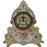 "19c Royal Bonn Ansonia ""La Manche"" Clock Shelf Mantle Antique Victorian Porcelain Works Outside Escapement German Germany"