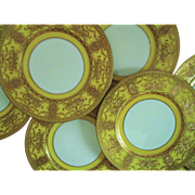 """8 Royal Worcester for Tiffany Dinner Cabinet Plates Yellow & Gold Encrusted c. 1920 Gilt Gilded Raised Presentation Service Set 10.5"""" English England Art Nouveau"""