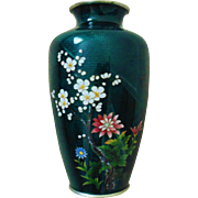 Japanese Foil Cloisonne Green Vase Enameled Signed Sato Bamboo & Swallow Bird