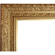 LARGE 19c Antique Picture Frame Gilt Wood & Gesso Victorian Roses for Painting, Mirror, Print Gold