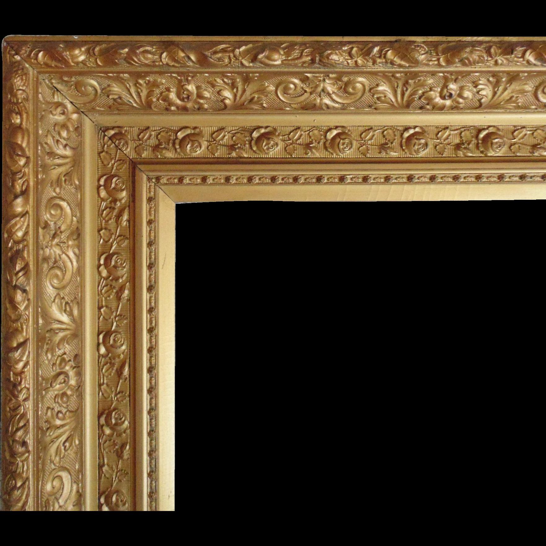 LARGE 19c Antique Picture Frame Gilt Wood u0026 Gesso ...