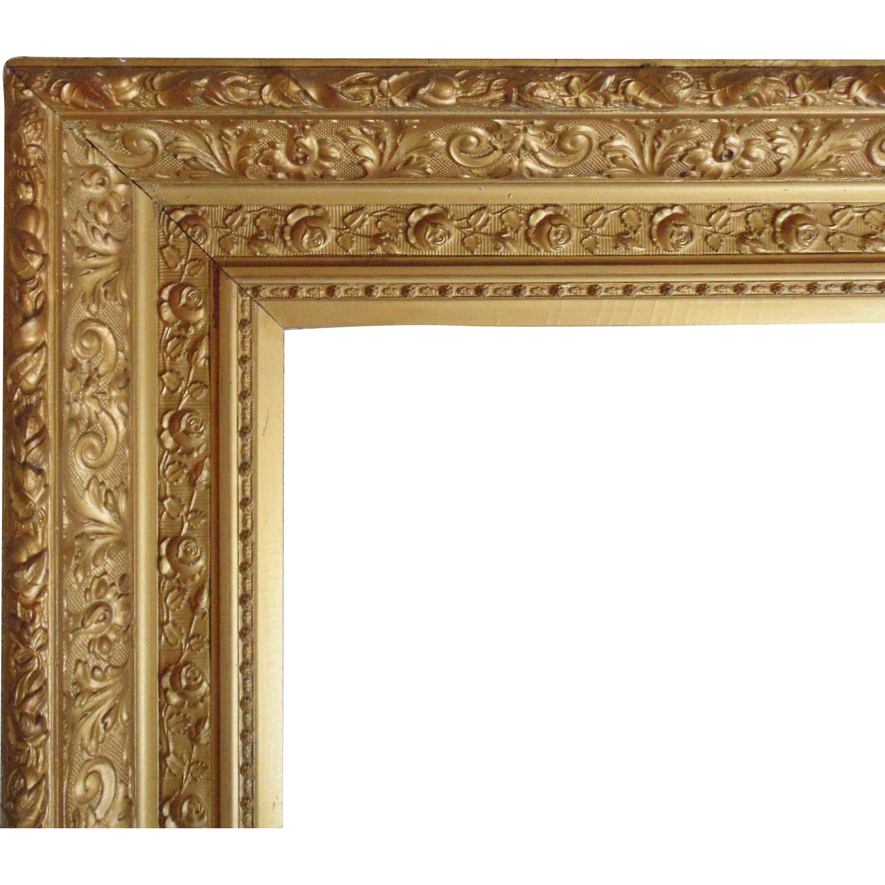 Large 19c antique picture frame gilt wood gesso for Large portrait mirror