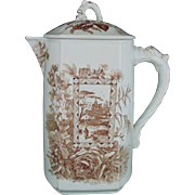 Antique Aesthetic Coffee Tea Pot Brown Transferware with Dolphins Eastlake English England c. 1870s