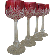"4 French Baccarat ""Colbert"" Wine Glasses Hocks Cranberry Ruby Cut to Clear Lead Crystal Glass Vintage"
