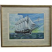 George W. Wells 6 Mast Schooner Ship Oil Painting Signed Illustration Artist Wesley C. Sanborn Fly Fishing Expert Maritime Nautical