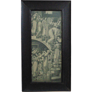 Antique B & W Print Procession of Maidens Women Neo-Classical in Oak Wood Frame