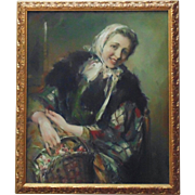 LARGE Oil Painting Illustration Art Portrait of a Woman with Basket of Flowers Signed Eric Pape Framed