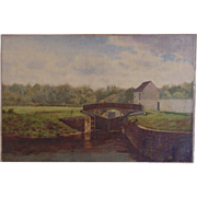 19c Antique Oil Painting Signed William L. Picknell Fishing Landscape
