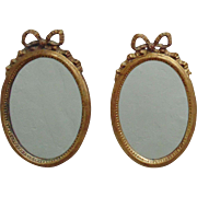 Pair Italian Oval Picture Frames Gilt Wood Miniature w/ Ribbons & Bows Florentine Italy Mediterranean