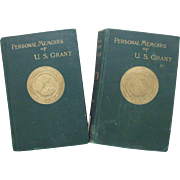 Ulysses S. Grant Personal Memoirs Vols. 1 & 2 First Edition Books U. S. Grant Autobiography c. 1885 Civil War