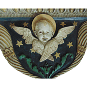 Vintage Religious Architectural Shelf Cherub Angel Putti w/ Cornucopias of Fruit Church Reliquary Salvage Pediment Italian Italy