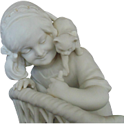 Antique French Parian Sculpture Little Girl Child & Cats Kittens on Wicker Chair Statue Figure Bisque