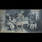 19c Victorian B & W Print w/ Cherubs Putti Signed Virgilio Tojetti