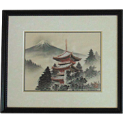 Vintage Chinese Woven Silk Thread Pagoda & Mountain Picture Asian Oriental Signed
