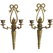 Pair Vintage Brass Candle Sconces w/ Torches Ribbons Bows Wall Lamps
