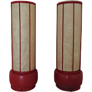 Pair Red Modern Cylinder Table Lamps Mid Century with Fiberglass Shades Retro Atomic Vintage Tower