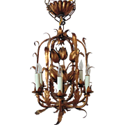 Italian Tole Chandelier Gilt Metal Tulip Birdcage Bird Cage Hollywood Regency Flowers Floral 6 Lights Petite Italy Light Fixture