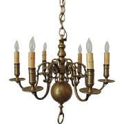 Antique Chandelier Solid Brass 6 Lights Colonial Light Fixture