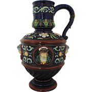 RARE Johann Maresch Majolica LARGE Jug Vessel Pitcher w/ Faces Bohemia Pottery Aesthetic Eastlake Faience MUSEUM QUALITY c. 1850-60