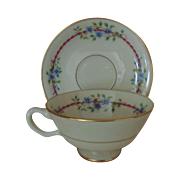 1 of 6 Sets Lenox Belvidere Porcelain Tea Coffee Cups & Saucers S-314