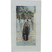 RARE Herbert Schmalz LARGE Hand-Colored Photogravure Print The King's Daughter c.1891 Psalm XLV Religious