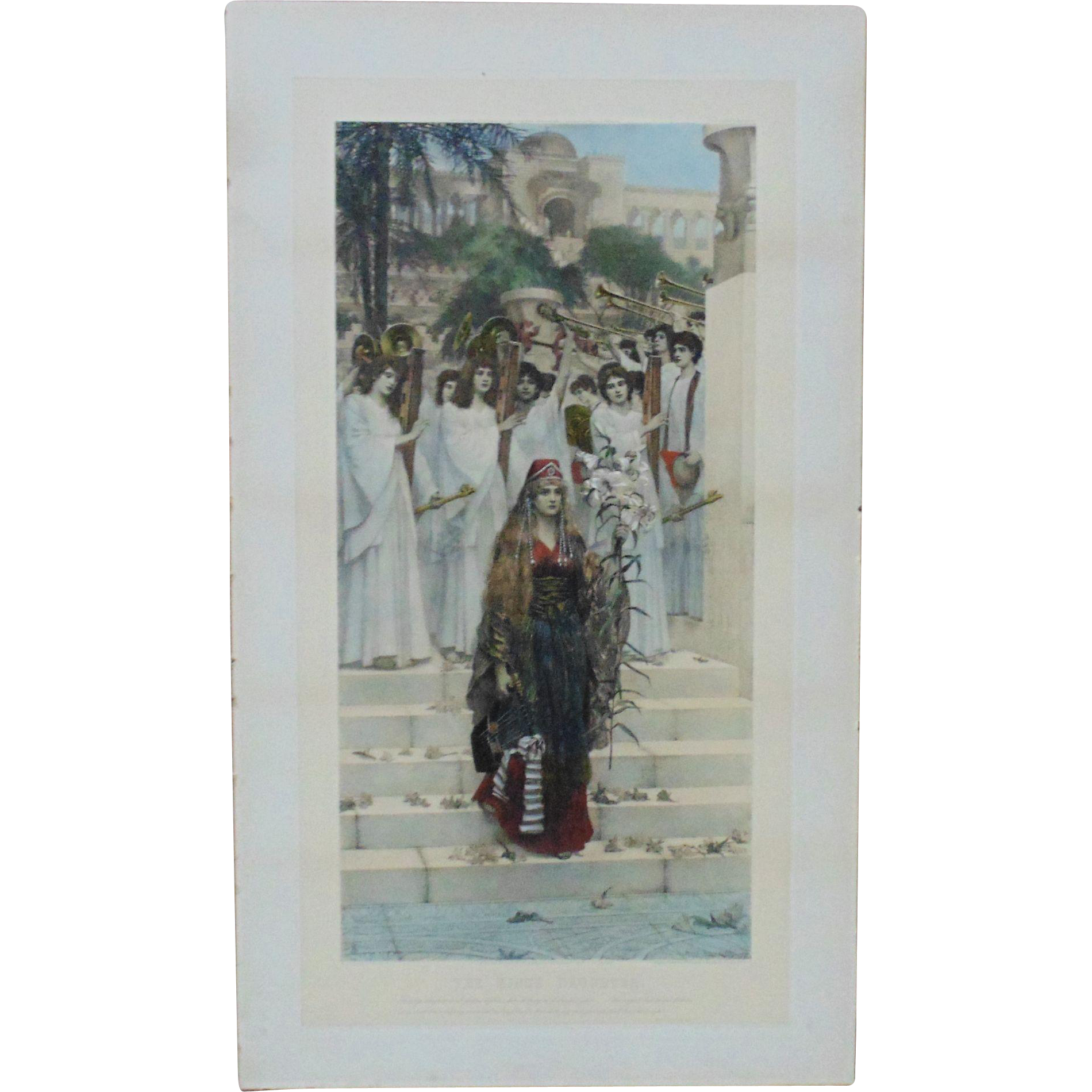 RARE Herbert Schmalz LARGE Hand Colored Photogravure Print The Kings Daughter C1891 Psalm XLV Religious