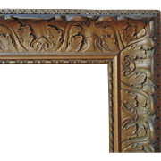 LARGE 19c Antique Wood & Gesso Acanthus Leaf Picture Frame for Painting Print or Mirror
