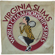 LARGE Vintage Virginia Slims Cigarettes Tennis Advertising Sign Womens World Championship Series Circuit c. 1983