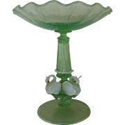 Vintage Murano Glass Compote w/ Swans Bird Candy Dish Venetian Italian Italy