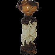 "Unusual 19c Oil Kerosene Lamp Moore Brothers Victorian Majolica Faience Cherubs Putti England English ""As Is"""