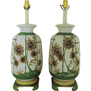 Pair LARGE Modern Table Lamps Mid Century Chinese Motif Flowers Floral Asian Oriental Blanc de Chine Hollywood Regency