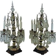 Pair French Candelabra Lamps Art Deco Bronze & Onyx France Vintage Dripping Crystal Glass Prisms Lustres