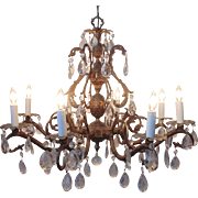 Vintage Chandelier Bronze Finish Pineapple Birdcage Bird Cage 8 Lights Dripping Faceted Cut Glass Prisms Lustres
