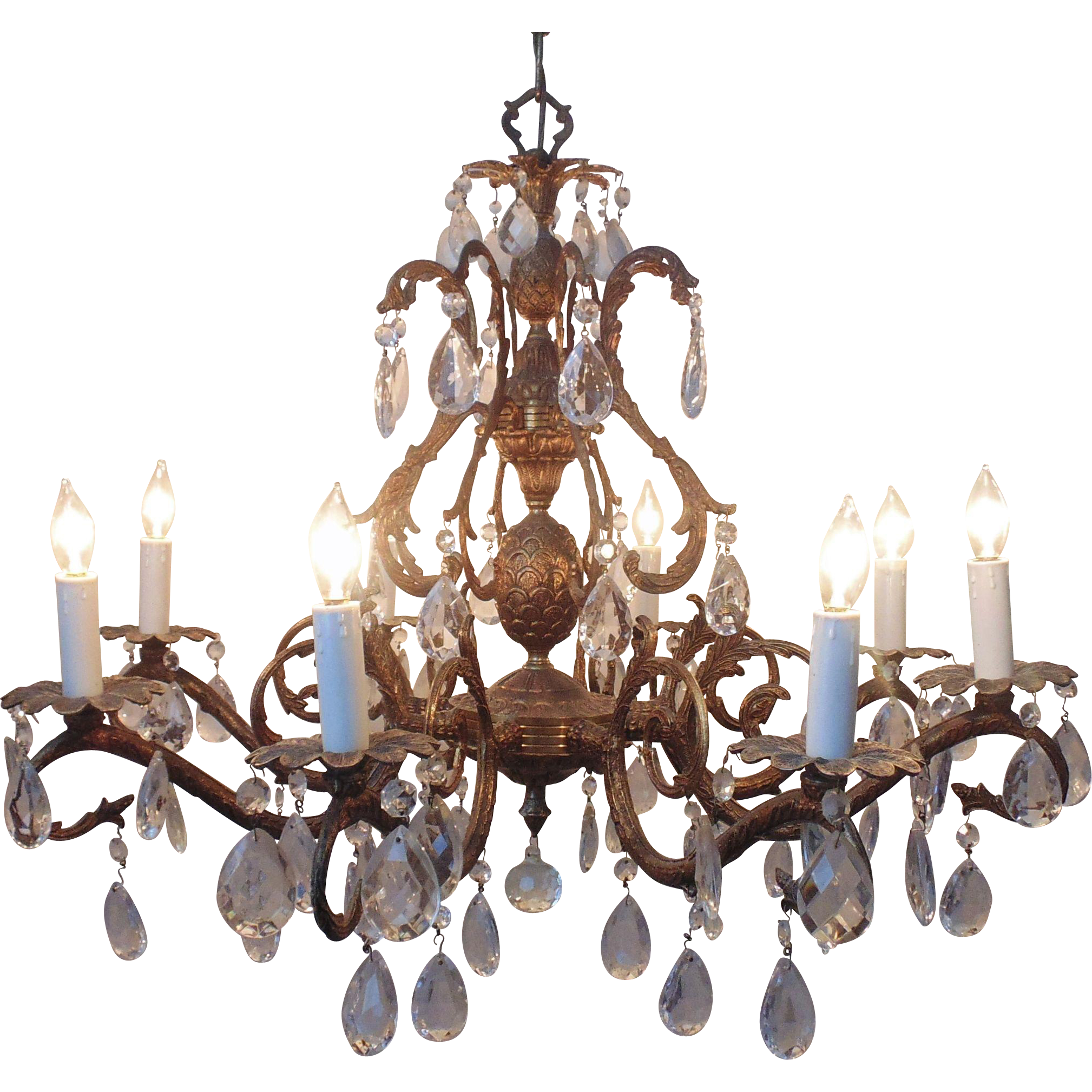 Vintage Chandelier Bronze Finish Pinele Birdcage Bird Cage 8 Lights Dripping Faceted Cut Gl Prisms Res
