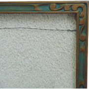 "Art Deco Picture Frame Carved Wood Polychrome 15 1/4"" x 8 1/2"" Vintage for Painting Print or Photo Photgraph"