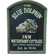 The Blue Dolphin Inn Wood Advertising Sign Shabby Cottage Chic Vintage Cape Cod Massachusetts Beach Ocean