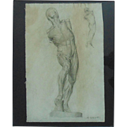 Nude Male Anatomical Charcoal Drawing Signed