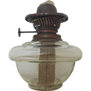Antique 19c Oil Kerosene Lamp Font Fount Part Hanging Banquet Piano Dutch Clear Glass