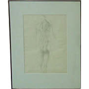 Graphite B & W Anatomical Male Nude Drawing Signed E. Stroh