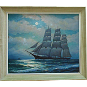 """Young America"" Clipper Ship Oil Painting Signed Harold Dunbar Nautical Maritime"