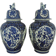 Pair Vintage Delft Ginger Jar Royal Sphinx Blue & White Porcelain Holland Floral Flowers Faience Delfts